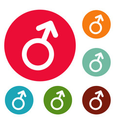 male gender symbol icons circle set vector image