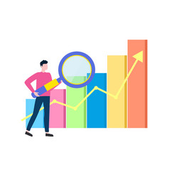 Man with magnifying glass analyzing data info vector