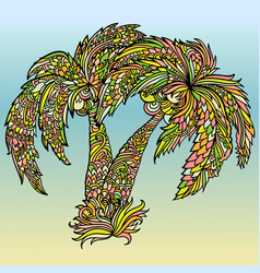 Mandala style print with palm trees drawing vector