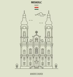 minorite church in miskolc vector image