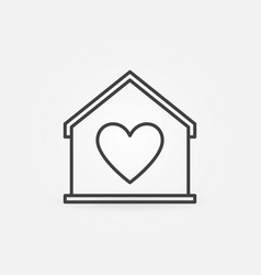 modern house with heart line icon stay vector image
