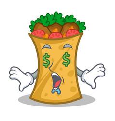 Money eye kebab wrap character cartoon vector