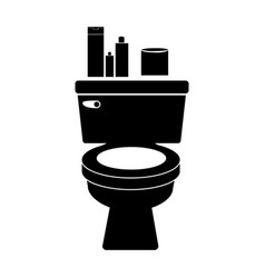 monochrome silhouette of toilet and toilet paper vector image