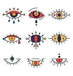 Mystic talismans tattoo concept or evil eyes set vector