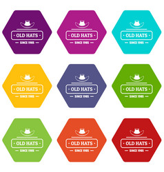 Old hat icons set 9 vector