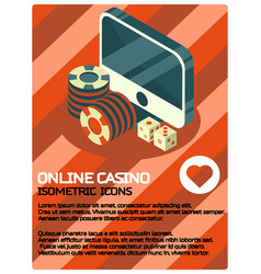 online casino color isometric poster vector image