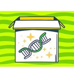 open box with icon of dna molecule chain vector image