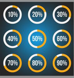 Orange progress indicators set vector