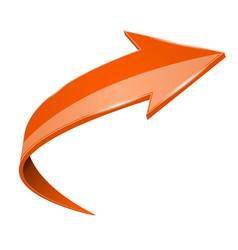 Orange up shiny 3d arrow vector