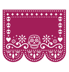 Papel picado template design with sugar skulls vector