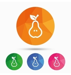 Pear with leaf sign icon Fruit symbol vector image