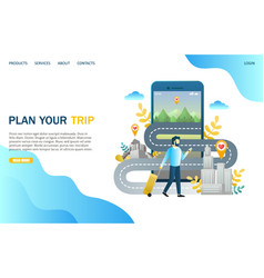 Plan your trip website landing page design vector