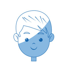 Portrait face boy young smile cartoon vector