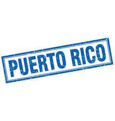 Puerto rico blue square grunge stamp on white vector