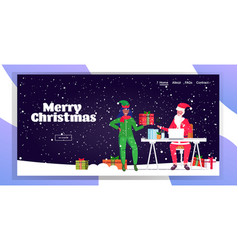 santa claus using laptop african american female vector image