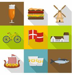 Scandinavia icons set flat style vector