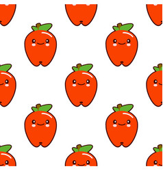 seamless pattern with red apple cute fruit kawaii vector image