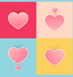 Set happy valentines day heart pink color pastel vector