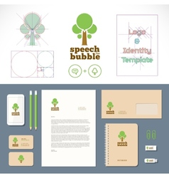 Speech Bubble Tree Logo and Identity Template vector image