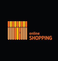 Storefront with awning icon online shopping vector