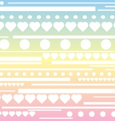 Stripes hearts and circle pattern rainbow pastel b vector