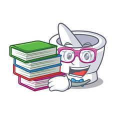 Student with book mortar mascot cartoon style vector