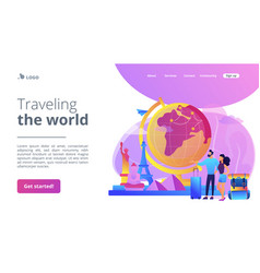 Traveling world concept landing page vector
