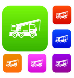 Truck mounted crane set collection vector