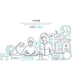 Tutor - modern line design style web banner vector