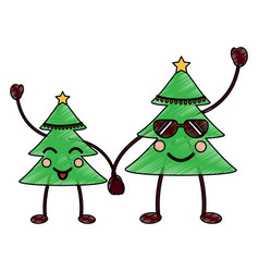 Two christmas tree kawaii cartoon smiling vector