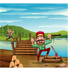 Two lumber jacks chopping woods vector