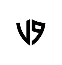 Vp monogram logo with shield shape design template vector