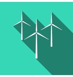 Wind generator icon with long shadow vector