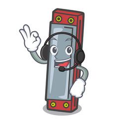 With headphone harmonica mascot cartoon style vector
