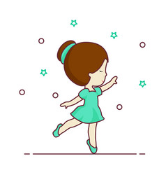 woman dancing young girl full body cartoon icon vector image