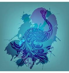 blue peacock vector image