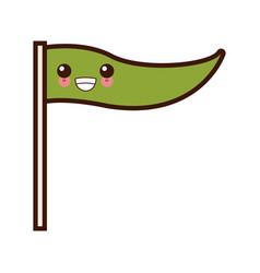 flag pennant symbol cute kawaii cartoon vector image