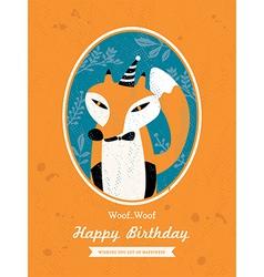 Fox Animal Cartoon Birthday card design vector image vector image