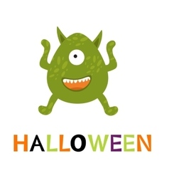 Halloween card with cute monster vector image vector image