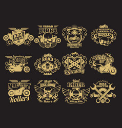 motorbike club vintage patches on black vector image vector image