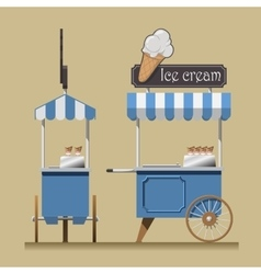 Retro ice cream cart vector image vector image