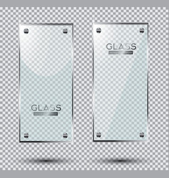 two glass plates with steel rivets isolated on vector image