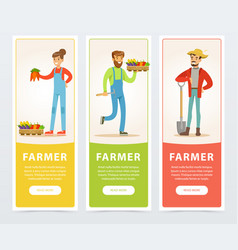 banners with farmers harvesting and selling farm vector image vector image