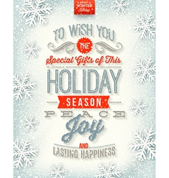 Christmas holidays type design vector image vector image