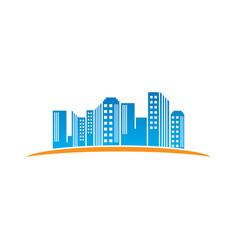 landscape building town icon logo vector image vector image