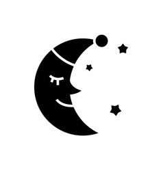 moon face sleep icon black vector image