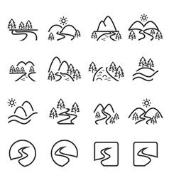 river icon set eps10 vector image vector image