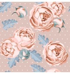 Seamless peony roses and polka dot vector