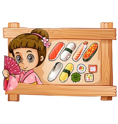 A frame with a girl and the different flavors of vector image vector image