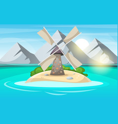 island cartoon mountain sun cloud wind mill vector image vector image